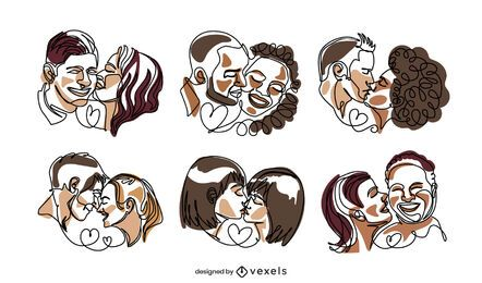 Valentines couples continuous line set