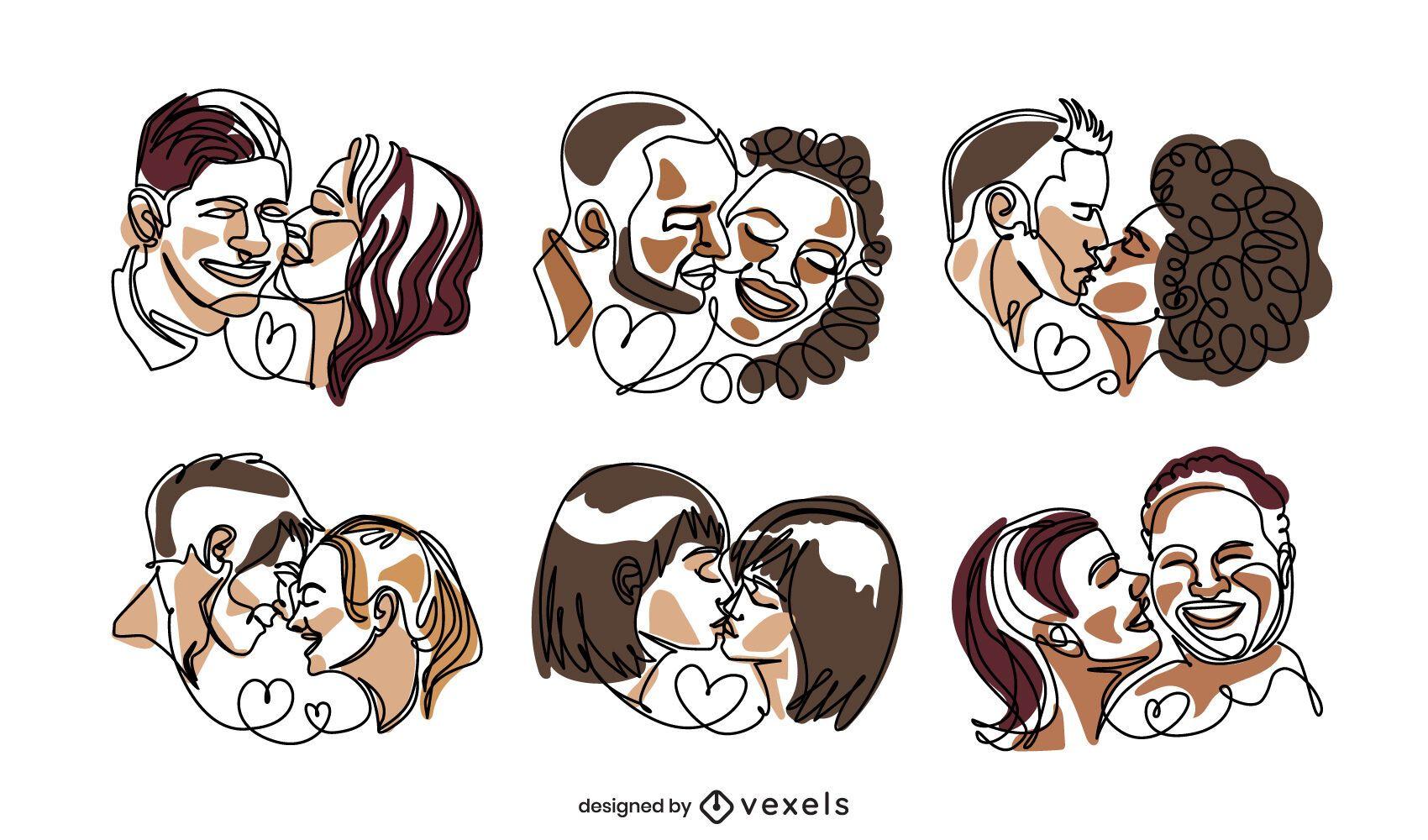 Conjunto de linha contínua de casais de namorados