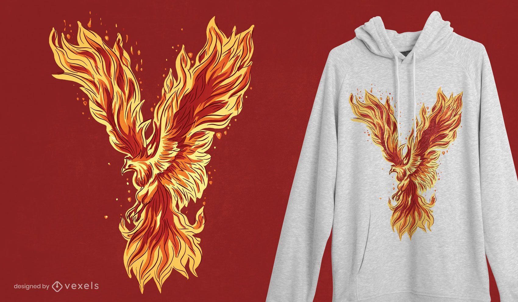 Design de camiseta da criatura Phoenix