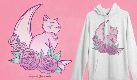 Design de t-shirt da lua do gato