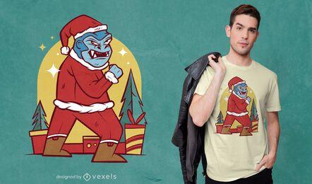 Gorilla santa claus t-shirt design