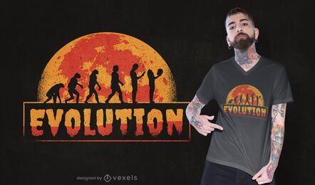 Diseño de camiseta de evolución espeluznante