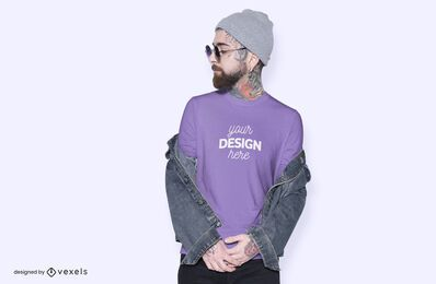 Hat model t-shirt mockup design