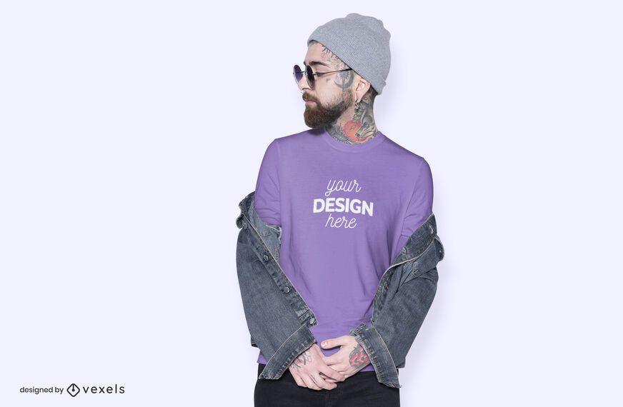 Diseño de maqueta de camiseta modelo de sombrero
