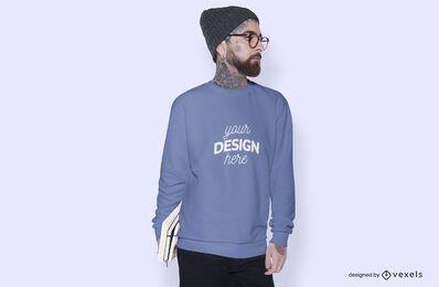 Diseño de maqueta de sudadera modelo masculino