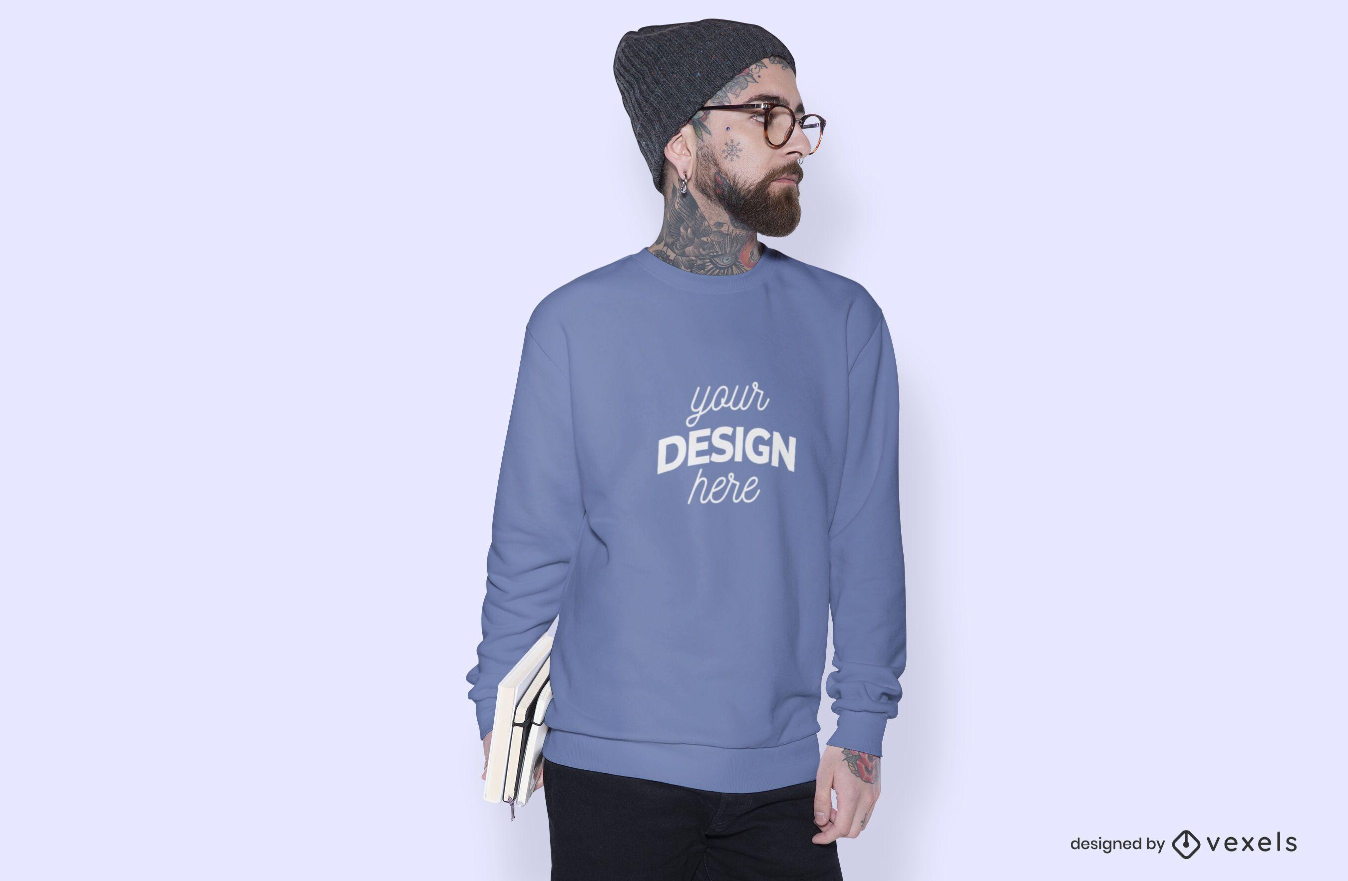 Male model sweatshirt mockup design