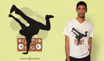 Diseño de camiseta de silueta de breakdancer