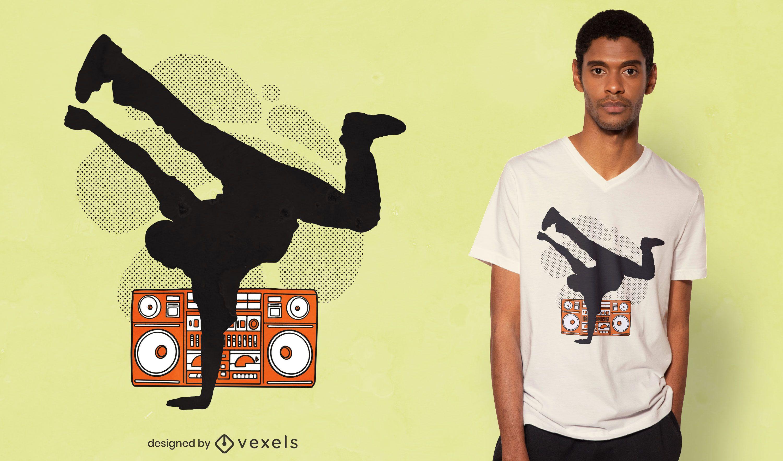 Breakdancer silhouette t-shirt design