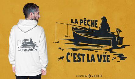 Projeto de camiseta de pesca com citações da França