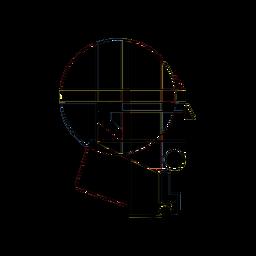 Desenho abstrato de cabeça arredondada
