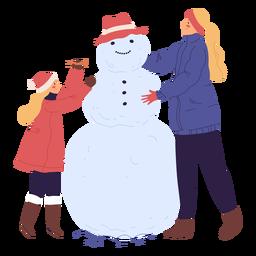 Personajes construyendo muñeco de nieve ilustración