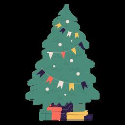 Ilustração da árvore de natal e presentes