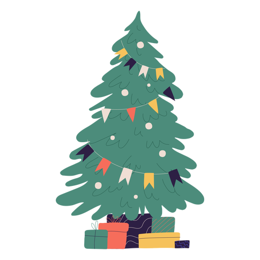 Ilustración de árbol de navidad y regalos Transparent PNG