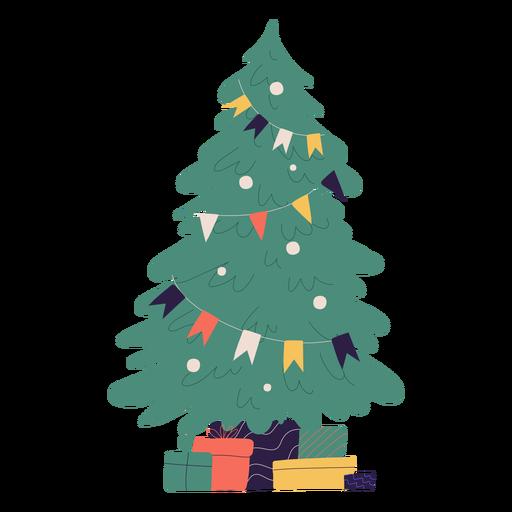 Weihnachtsbaum und Geschenkillustration