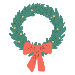 Christmas wreath bow design illustration