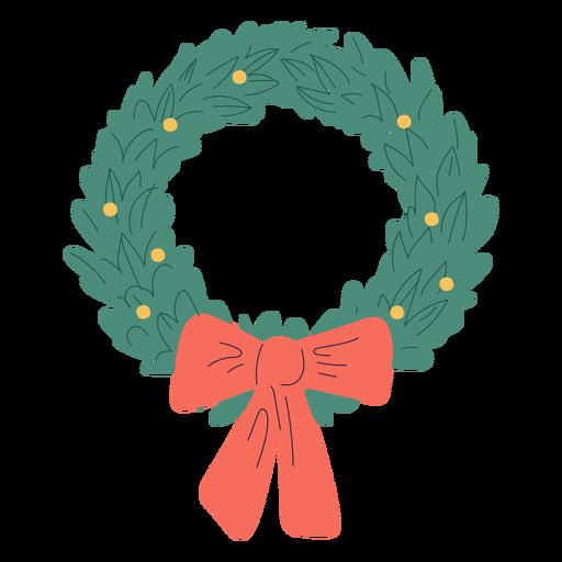 Christmas wreath bow design illustration