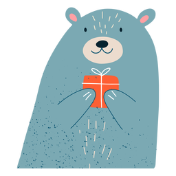 Christmas bear present illustration