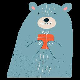Christmas bear present illustration