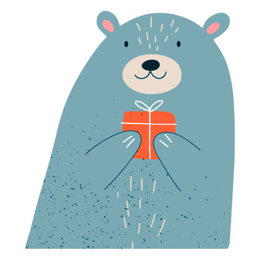 Christmas bear present illustration Transparent PNG
