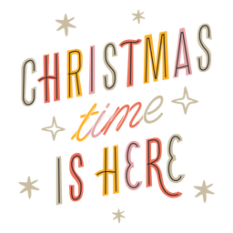 Navidad está aquí diseño de letras brillantes