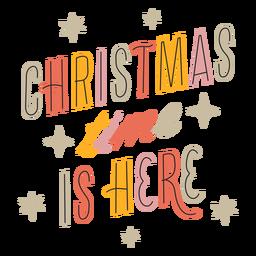 Weihnachten ist hier funkelndes Schriftzugdesign