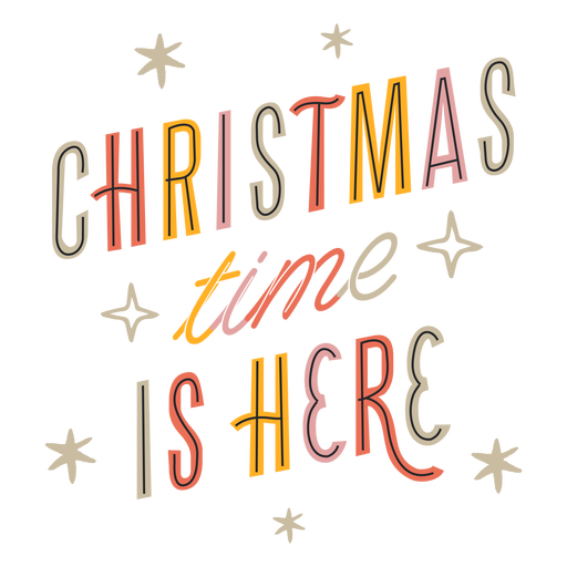Christmas is here sparkly lettering design Transparent PNG