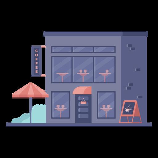 Edificio de cafetería tienda plana