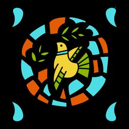 Desenho de ornamento de pomba colorido