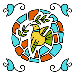 Diseño de adorno de paloma colorida
