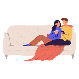 Couple on a couch illustration
