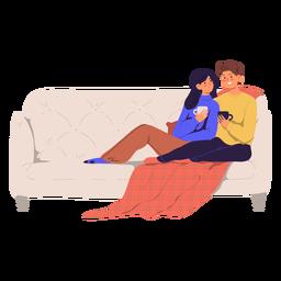 Pareja en una ilustración de sofá