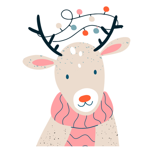 Ilustração festiva de rena fofa