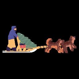 Carácter de hombre de trineo de perros