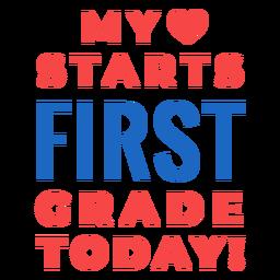 Erste Klasse zurück zur Schule Schriftzug
