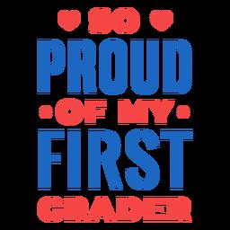 Letras orgulhosas de aluno da primeira série