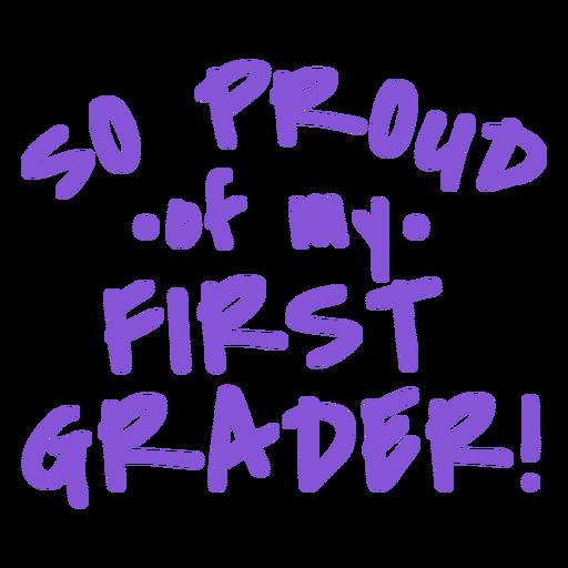 Diseño de letras orgulloso de primer grado