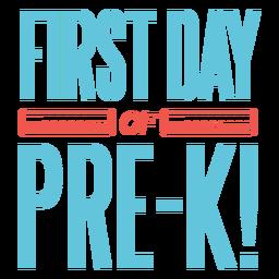 Diseño de la regla del primer día de prekínder