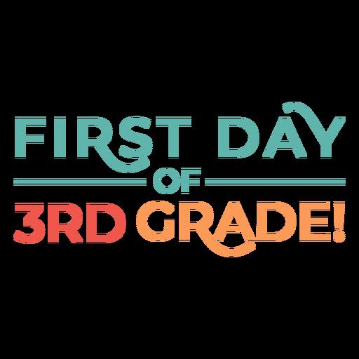Diseño colorido de primer día de escuela de tercer grado.