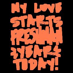 Letras de diseño de amor de primer año