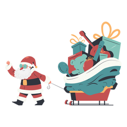 Gift sleigh santa claus illustration