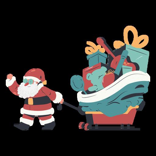 Gift sleigh santa claus illustration