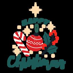 Desenho de doces e enfeites de Natal feliz