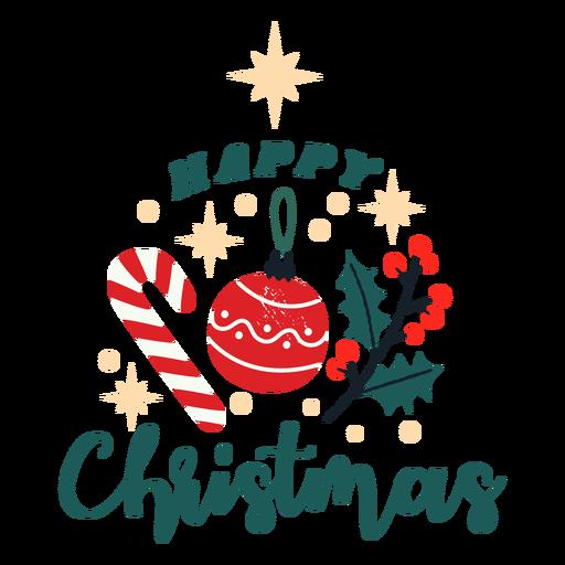 Desenho de doces e enfeites de Natal feliz Transparent PNG