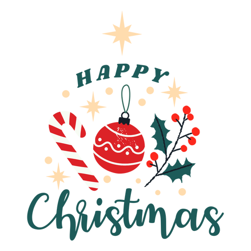 Happy christmas candy and ornament design Transparent PNG