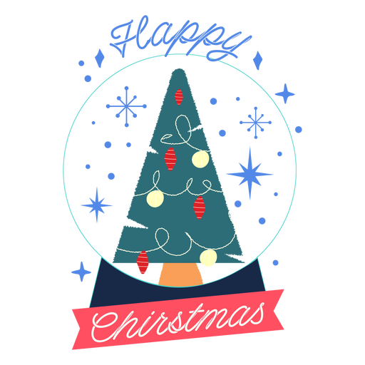 Happy christmas crystal ball badge Transparent PNG