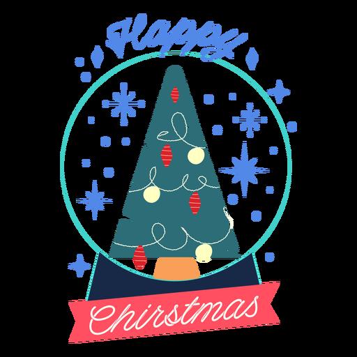 Insignia de bola de cristal de feliz navidad