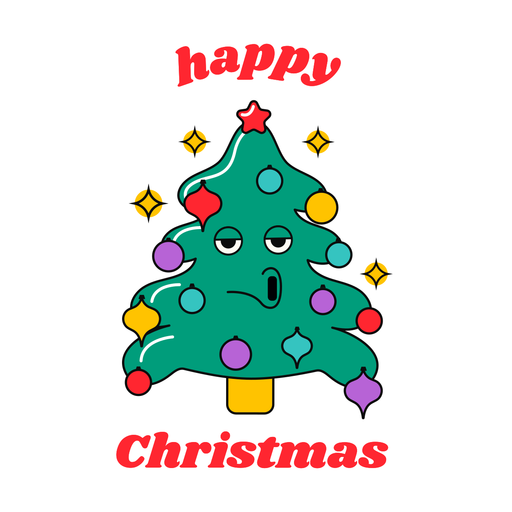 Happy christmas funny tree design