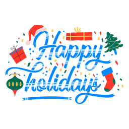 Happy holidays gift design lettering