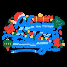 Letras de diseño de regalo de felices fiestas