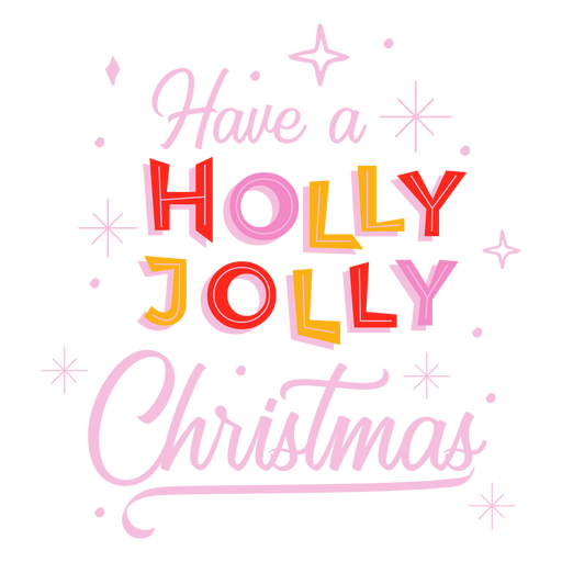 Holly jolly christmas lettering Transparent PNG
